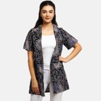 Anakara Luaran Batik Wanita - Short Sleeve Outer Karzena Blue - Black - Hitam, M