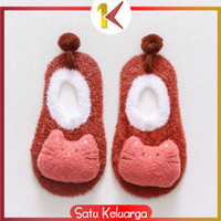 SK-P15 Sepatu Prewalker Kaos Kaki Korea Anak Bayi Kaus Kaki Bulu Lembu - 01 MARON KUCING, L