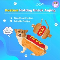 Baju Anjing Kostum Lucu Hot Dog Shirt Puppy Costume Burger Sosis Hewan