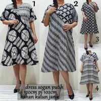 baju batik dress sogan putih/batik tunik/batik eanita/batik seragam