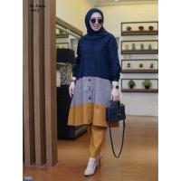 Set Ainin Navy/Stelan Baju Celana Wanita Muslim/Set Gamis Muslim Hijab