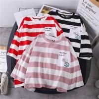 kemeja murah / baju atasan tangan panjang peach - Merah
