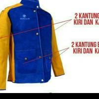 jaket safety apron full kulit / welding las anti panas - Kuning