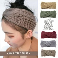 Bandana Rajut Boho Style Bando Wool Rajut Headband Musim Dingin Hangat