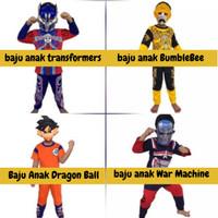 Kostum baju anak transformers bumblebee dragon ball iron machine