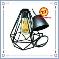 Kap Lampu Gantung SET Diamond Industrial Besi Cafe Vintage Edison Hias - Diamond Hitam