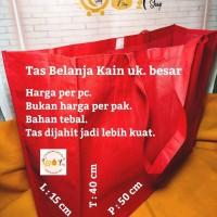 Tas Kantong Kain Belanja Tebal Besar Souvenir Shopping Bag Merah