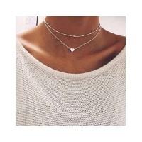 Kalung Korea heart double layer necklace