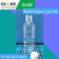 Botol Aqua 330 ml + Tutup Putih Segel Kunci Isi 100 pcs/bal