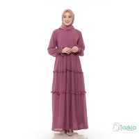 Gamis Wanita | Hasna Dress Ungu | Ceruty Babydoll Full Furing Original - Ungu, XL