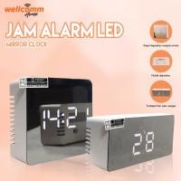 LED Mirror Clock Jam Digital Pintar Jam Weker Waker Alarm
