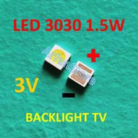 Led 3030 3V 1.5W Cold White Backlight TV SMD Lampu Putih Terang Lextar
