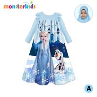 Gamis Karakter Anak free Hijab Pashmina sz 5T-9T - Frozen Biru, 5T