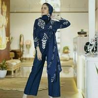 setelan wanita celana kulot blazer kimono ethnic tenun blanket AT001