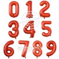 Balon Foil Angka Jumbo Merah 80 Cm / Balon Angka Jumbo 80cm