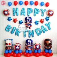 Paket Dekorasi Balon Happy Birthday / Ulang Tahun Karakter Avenger 02