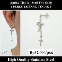 Anting Tindik Cowok Pria - Stud Two Salib
