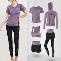 Baju Olahraga Wanita 5pcs 5in1 Set Jacket Gym Fitness Yoga