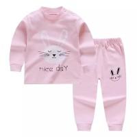 baju bayi setelan anak lucu motif kelinci putih celana&lengan panjang
