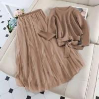 setelan baju blouse wanita set maxi rok tutu panjang tile princess