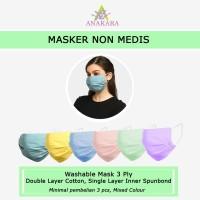 Anakara Masker Kain Non Medis Armadillo - Isi 3 Mixed Colour