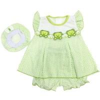 Baju Dress Bayi Perempuan Katun 3-6 Bulan Motif Polkadot Bear
