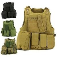 Baju Rompi anti peluru tactical banyak kantong tebal plat baja 10 mm