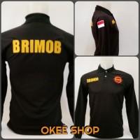 Kaos Baju Kaos Polo Shirt BRIMOB Lengan Panjang Hitam