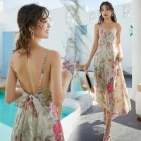 FLOWER BACKLESS DRESS PANTAI MAXI / GAUN WANITA IMPORT BEACHWEAR MURAH