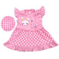 Baju Dress Bayi Perempuan Katun 6-12 Bulan Motif Polkadot Kelinci Lucu