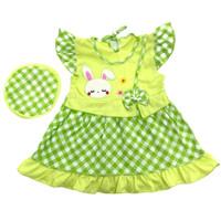 Baju Dress Bayi Perempuan Katun 6-12 Bulan Motif Polkadot Kelinci Lucu - Hijau