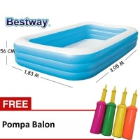 Kolam Renang Anak Bestway Uk.3.05 m x 1.83 m x 56cm Free Pompa Balon