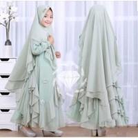 Baju Gamis syari anak muslim perempuan Unisex wolfis Usia 5-7 tahun