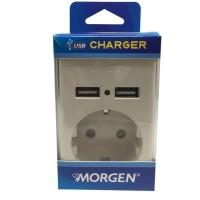 Stop Kontak 1 Lubang Dengan 2 Port USB Charger Morgen MG 630 MG630-U