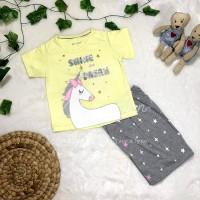 Setelan Baju Anak Perempuan / Cewek Unicorn Kuning - 2 - 12 Tahun