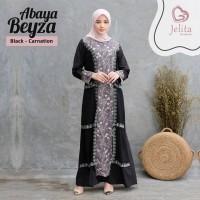 Baju Gamis Abaya Beyza Dress Muslimah Wanita Warna Black - Carnation