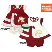 Setelan Baju bayi Perempuan motif BEAR SUSUN PLANET KIDS 0-6 bulan
