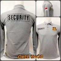 Kaos Baju Kaos Polo Shirt Security Lengan Panjang Abu Logo Kuning - M