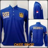 Kaos Baju Kaos Polo Shirt TBC Security Lengan Panjang Biru Benhur - M