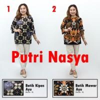 Blouse Batik Atasan Wanita Size Lengkap Jumbo Batik Seragam Modelbatik - S, no.1
