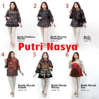Atasan Batik Blouse Wanita Size Lengkap S-M-L-XL-XXL-3L-4L-5L seragam - S, no.1