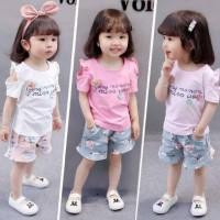 setelan baju anak sabrina Import, Setelan baju bayi celana bunga - Fanta, S