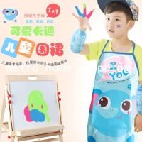 apron celemek set anak waterproof/ apron anak/apron painting-MHS065 - monyet