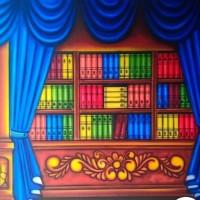 Background foto kain wisuda rak buku renda biru