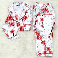 Baju Tidur Cewek/Wanita Piyama/Pajamas Katun Micro Orchard Merah (PP)