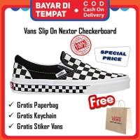 Vans Slip On Nextor Checkerboard Black White Original Sepatu Sneakers