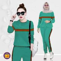 LM 03756 Baju Setelan Wanita Training Garis Termurah, Terkini ( XL )