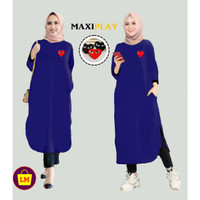 Baju Atasan Dress Wanita Maxi Play Termurah Terlaris XL LM 03145 - Navy