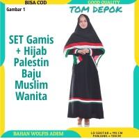 SET Gamis + Hijab Palestin Baju Muslim Wanita - MotifHorizontal