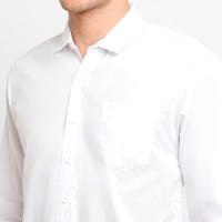 FTSL PPLL Kemeja Polos Putih Pria Simple Baju Pakaian Slimfit katun